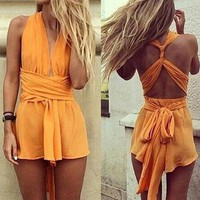 LMFON HOT SHORT DRESS ORANGE