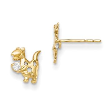 14kt Yellow Gold Dinosaur with CZ Accent Girls Stud Earrings