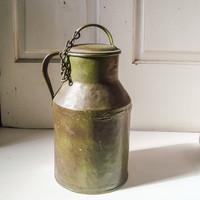 Patina Green Rustic Farmhouse Metal Milk Jug, Metal Milk Container with Lid, French Farmhouse, Country Kitchen, Decorative Metal Container