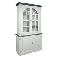 French Cupboard, Distressed White with Black