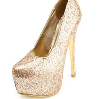 METALLIC TINSELTOWN GLITTER PLATFORM PUMPS
