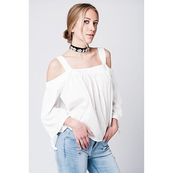 Off shoulder white lace top with angel sleeves