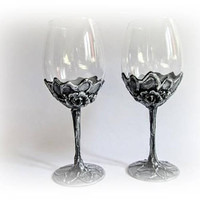 Antique Wine Glasses Wedding Toasting Glasses Bride and Groom Wedding Gift Wedding Celebration Silver Wine Glasses Birthday Gift Anniversary