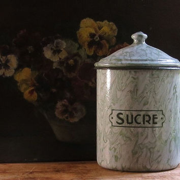 Vintage French Enamel Sugar Canister, Green Enamelware, Graniteware, Sucre, Paris Flea Market, Cottage Farmhouse Kitchen Decor