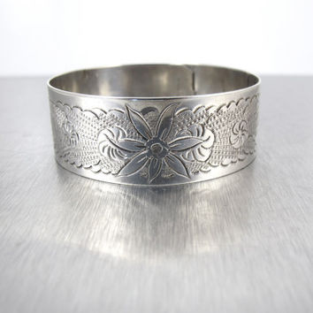 Victorian Sterling Silver Bracelet, Engraved Etched Floral Cuff Bangle Buckle Bracelet, 1900s Antique Victorian Aesthetic Jewelry