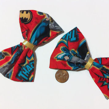 Batman Bow Set, Batman Fabric, Comic Book Bows, Gift Ideas, DC Comics Fabric, Superhero Bows, Handmade Bows, Bowtie bows, pigtail hair bows,