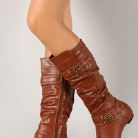Amar-34A Round Toe Buckle Knee High Boot