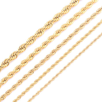 High Quality 18K Gold Plating Rope Chain Stainless Steel Necklace For Women Men Gold Fashion Rope Chain Jewelry Gift