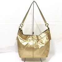 Auth COACH F13936 Gold Leather Shoulder Bag