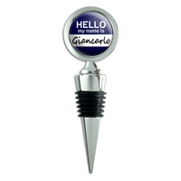 Giancarlo Hello My Name Is Wine Bottle Stopper