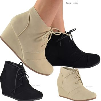 Women's Ankle Boots Wedge Heel Lace Up from Xica15