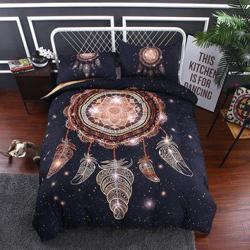 Ms.O 3D Universe Galaxy Ethnic Feather Animal Full Twin Queen King Size Morocco Indian Bedding Set Duvet Cover Set Bed Linen
