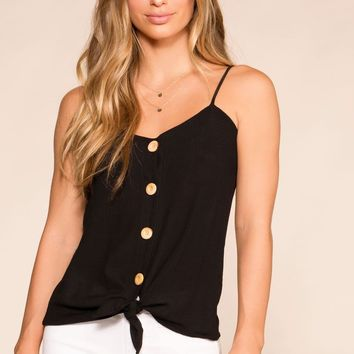 Paige Black Button Tank Top