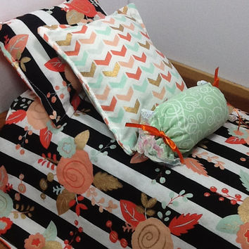Doll Bedding with elegant flowers, peach, mint, gold, orange, stripes, polka dots, chevron for 18 inch doll, 4 piece set, pillows, bolster