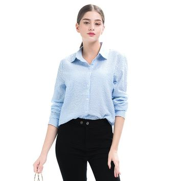 Autumn New Style Turn-down Collar Stripe All Matched Blouse Fashion Women's Clothing Long Sleeve Slim Shirt Top