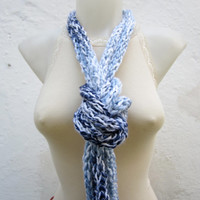infinity scarf Finger Knitting Scarf - Blue White Darkblue - Necklace scarf Winter Accessories-chain loop scarf