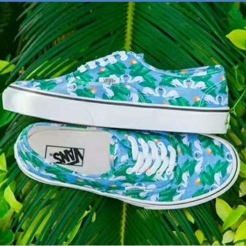 Vans Chambray Casual Sports Sneakers Shoes green leaf print H-CSXY