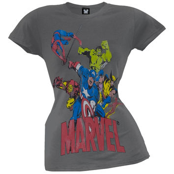 Marvel - 6 Heroes Dark Grey Juniors T-Shirt