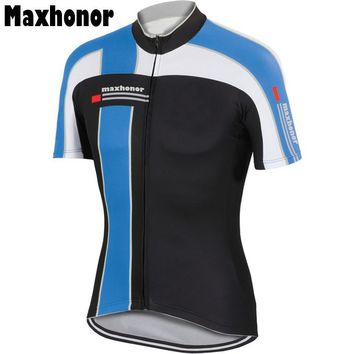 2017 mens cycling jersey road jersey white Cycling Clothing red blue bicycle wear maxhonor bike wear Retro jersey cycling