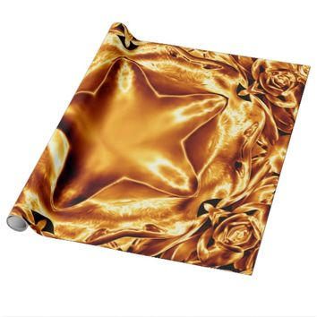 Elegant Gold Copper Christmas Star Chic Shiny Wrapping Paper