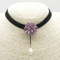 Women Leather Floral Choker Necklace + Gift Box