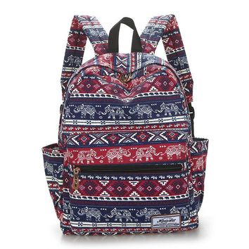 Tropical style geometrical design canvas backpack Stars stripes school backpack for girls owl printing travel baackpack women