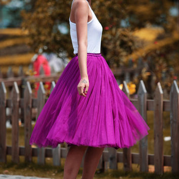 Tulle Skirt Tea length Tutu Skirt Elastic Waist tulle tutu Princess Skirt Wedding Skirt in Deep purple - NC455