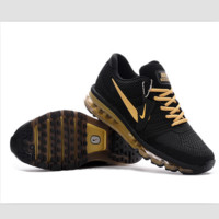 NIKE fashion casual shoes sports shock absorbing running shoes Black gold