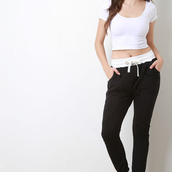 Two-Tone Quilted Panel Jogger Pants
