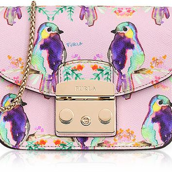 Furla Cardellino Printed Camelia Leather Metropolis Mini Crossbody Bag