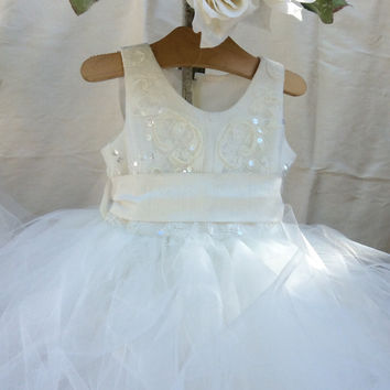 """Dina"" Baby girl tutu dress open back-photoprop-infant flowergirl-bridal"