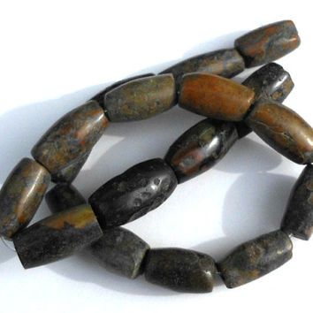 1 Strand Turquoise Stone Barrel Beads, Brown, Black, Green, Large Beads