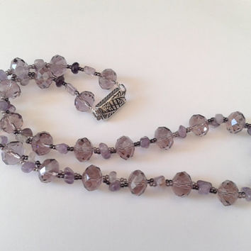 necklace handmade of amethyst chips, seed beads and faceted crystal