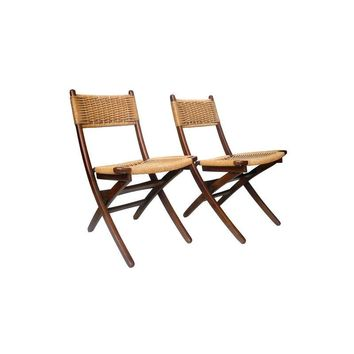 Pre-owned Hans Wegner Style Wooden Folding Chairs - A Pair