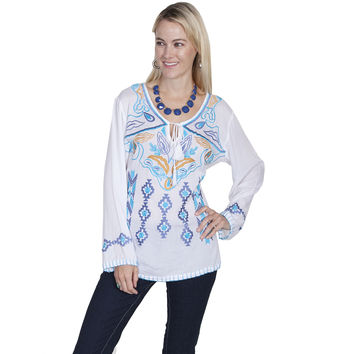 Scully Womens White Heirloom Embroidered Design Long Sleeve Blouse