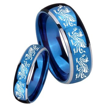 His Her Glossy Blue Dome Multiple Dragon Two Tone Tungsten Wedding Rings Set