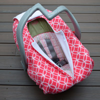 Girl Carseat Cover in Pink and White Circles - Wedding Ring Pattern Geometric Modern Baby Gift