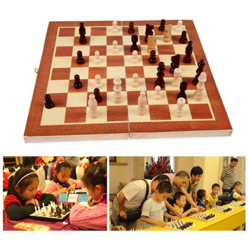 Wooden Chess Set Wooden Box with Board Kids Gift Toy International Chess Intellectual Training for Children more than 3year-old