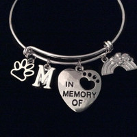 Rainbow Bridge Dog or Cat Memorial Expandable Charm Bracelet Silver Bangle Adjustable Pet Loss Memory Gift