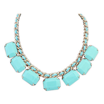 Light Blue Square Stone Drop Chunky Necklace