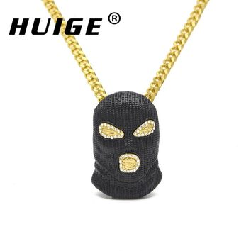 Pendant Necklace Mens Punk Style Alloy Black Color Mask