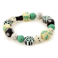Handmade Ancient Tribal Pattern Polymer Clay Bracelet-Green
