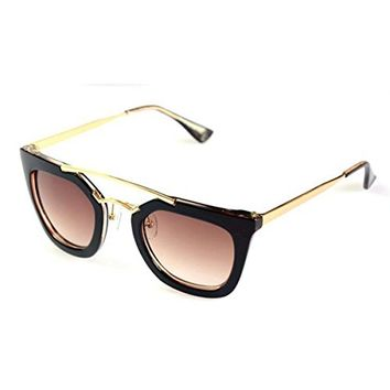 Plastic Frame Cateye Shape Synthetic Resin Lens Sunglasses With Double Metal Bridge Design 052204 S0606 Color Brown