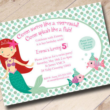 Little Mermaid Swim Party Birthday Invitation