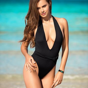 Plunging Front Black One Piece Swimsuit - Women Swimwear