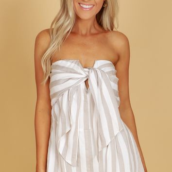 Strapless Striped Romper Ivory/Taupe