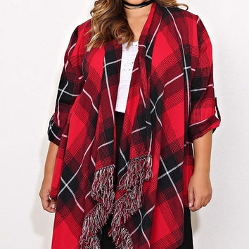 Plus Size Woven Flannel Wrap Top