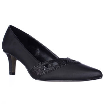 Easy Street Valiant Glitter Detail Classic Pumps - Black/Glitter