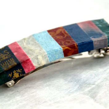 Striped Hanji French Barrette Hair Pin Lines Patchwork Blue Purple Rich Colors Sturdy Stainless Steel Barrette Handmade