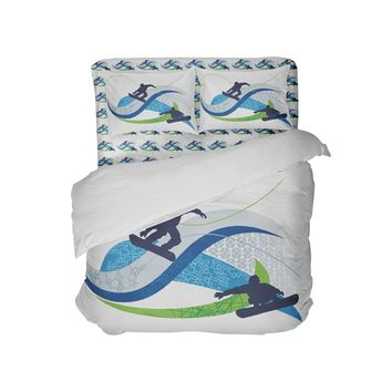 Shreddin Snowboard Pillowcase from Extremely Stoked Snowboard Bedding